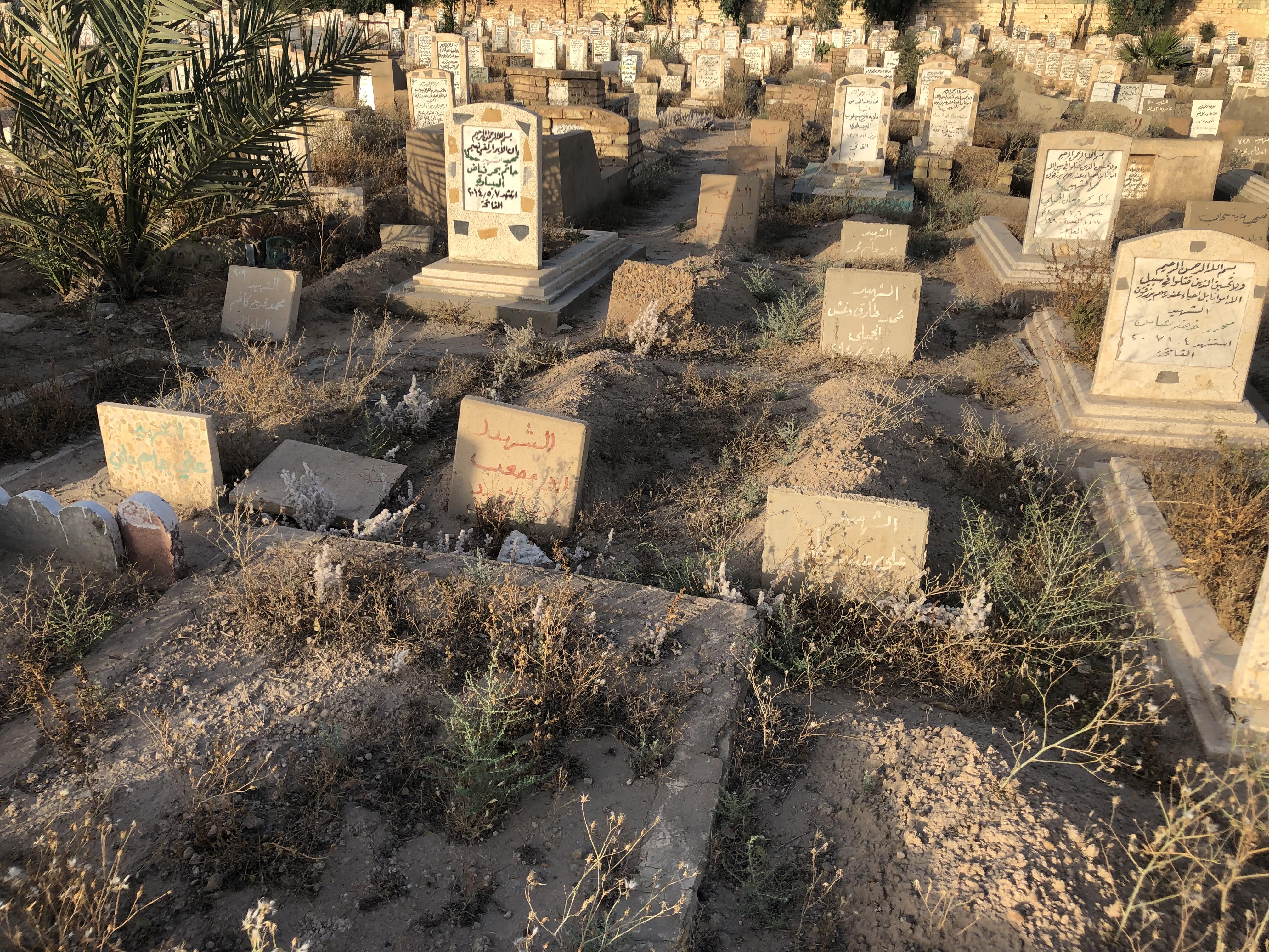 صورة أهالي الفلوجة يزيلون قبور الدواعش من مقابرهم