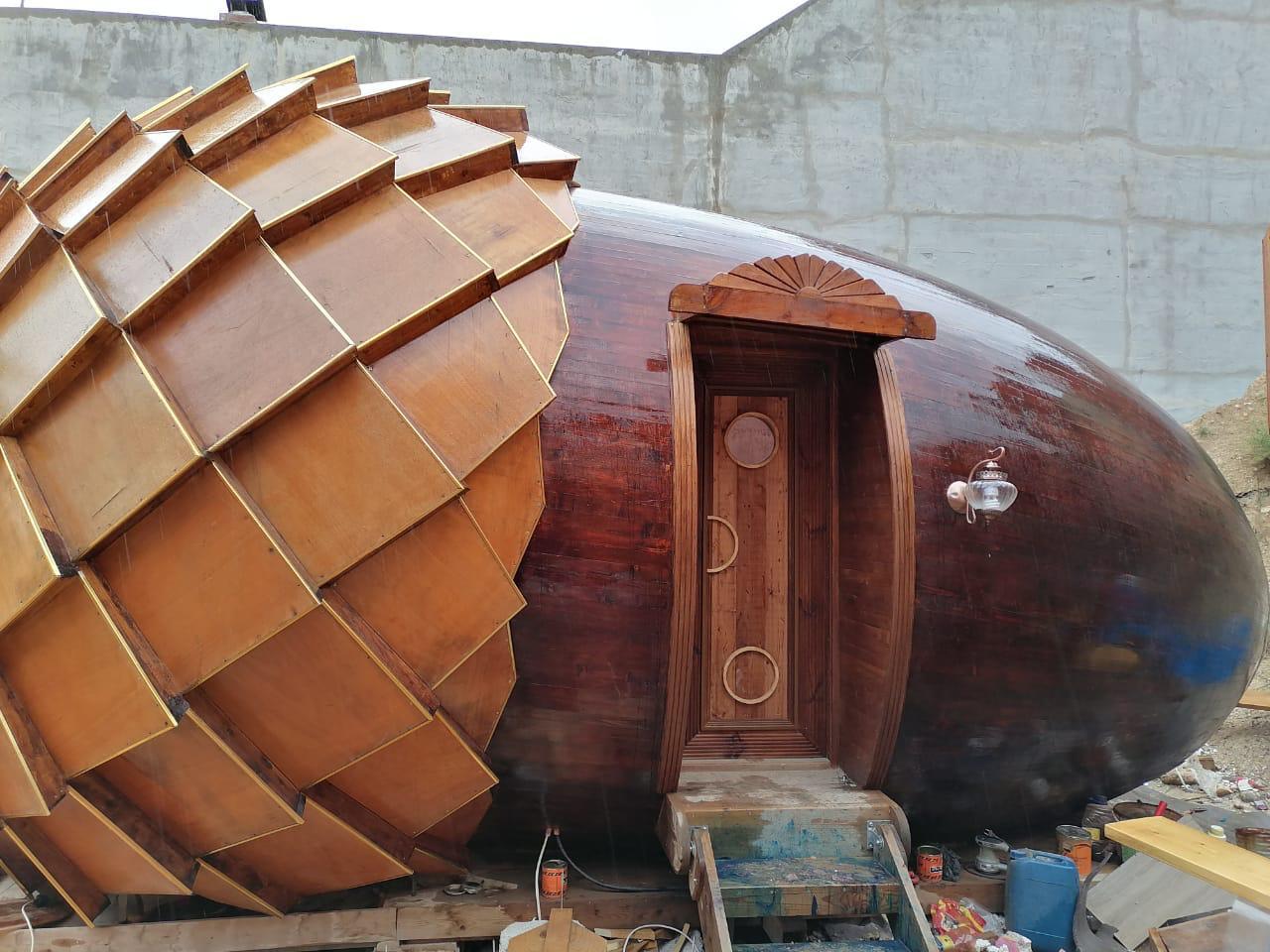 صورة فنان يشيد منزله على شكل حبة كستناء