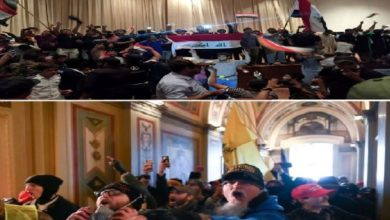 صورة تداولوا الصور بسخرية: اقتحام الكونغرس ذكّر العراقيين بدخول الصدريين الى البرلمان